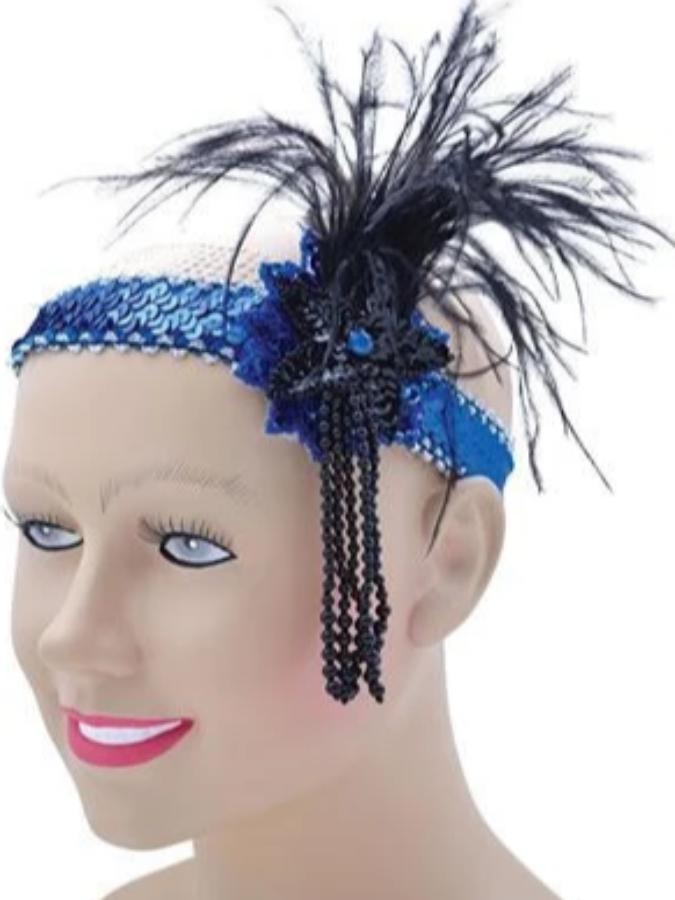 Flapper Headband Blue Sequin Band Deluxe