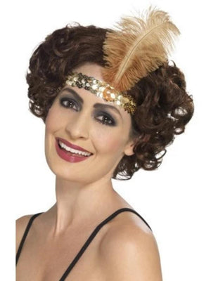 Flapper Headband, Gold, with Feather