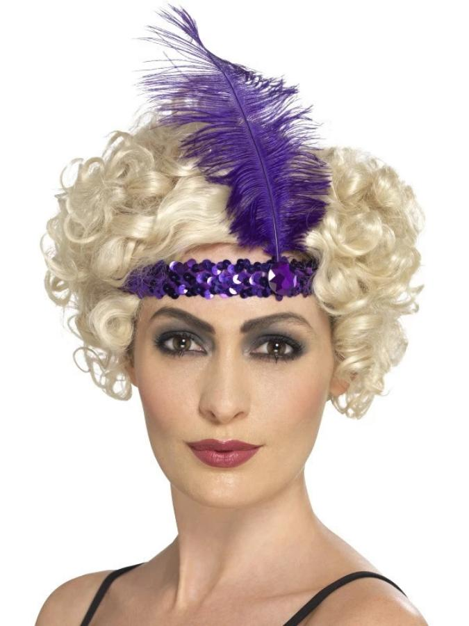 Flapper Headband, Purple, with Feather