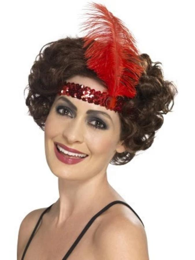 Flapper Headband, Red, with Feather
