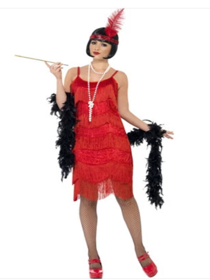 Flapper Shimmy Costume, With Beaded Dress and Headpiece Costume