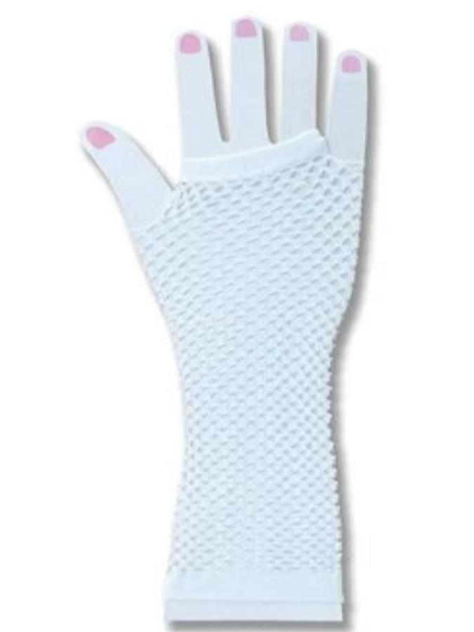 Gloves White Fingerless Fishnet