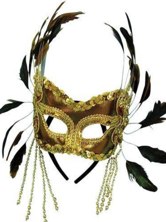 Gold Velvet And Feathers masquerade mask EM337