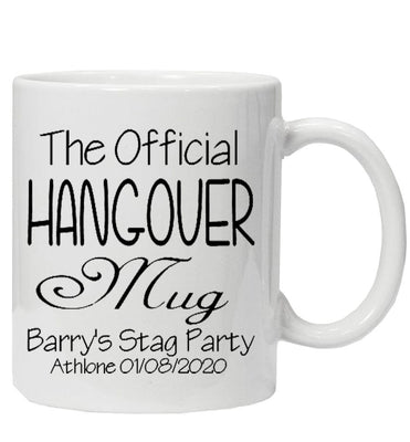 Personalised stag Party HANGOVER mug