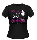 Personalised Birthday T-shirt with wine Glass