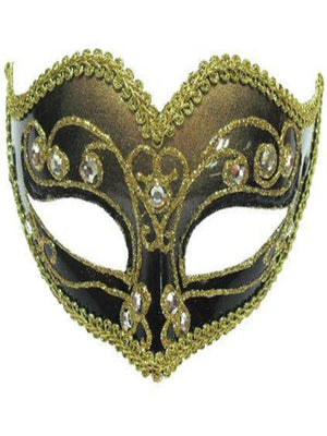 Jewelled Party Black/Bronze Masqarade mask em428