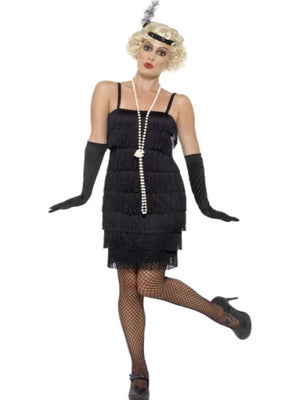 Ladies 20s Fringed Black Flapper Costume