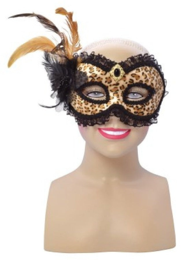 Leopard Print and Tall Feather mask em738