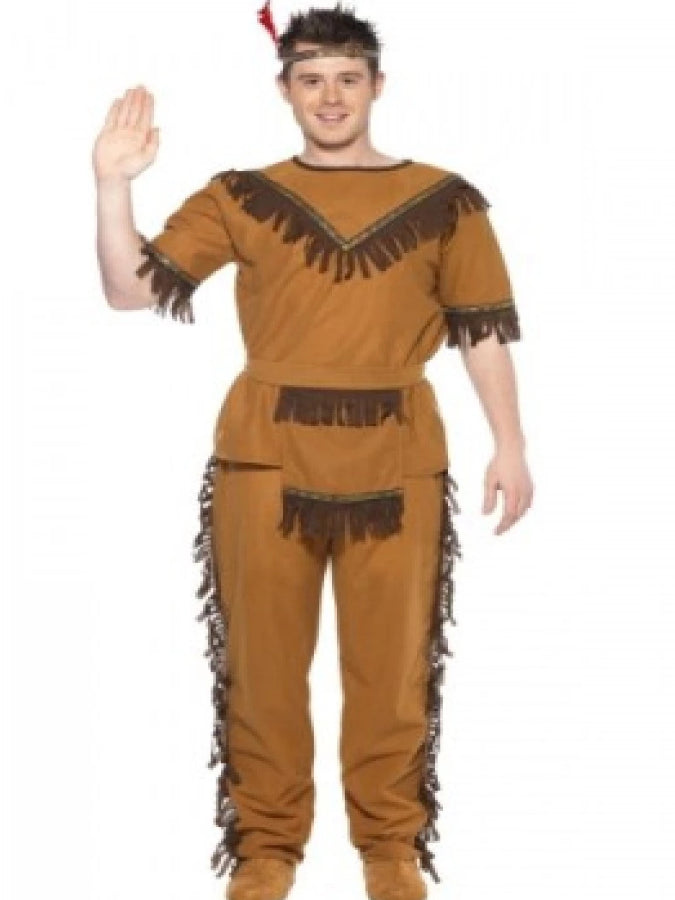 Mens Brown Indian Brave Costume