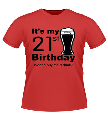 Personalised Birthday Tshirt with Pint