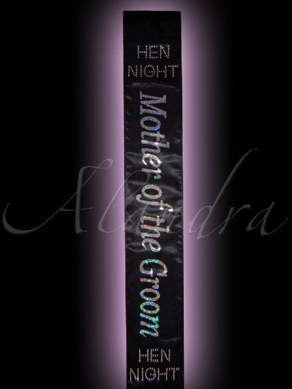 Hen Night Mother of the Groom Sash, black Deluxe