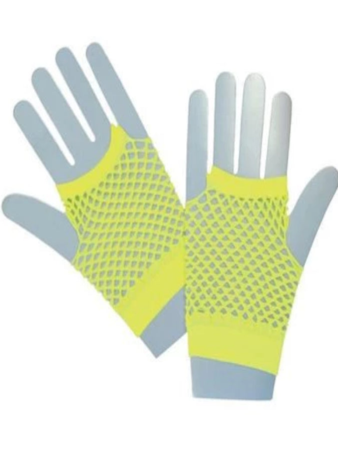 Neon Yellow Fishnet Gloves