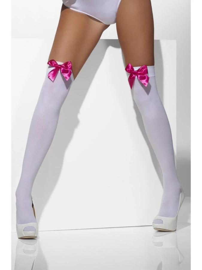 Opaque Hold-Ups, White, with Fuchsia Bows