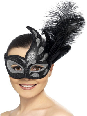 Ornate Colombina Feather Eyemask