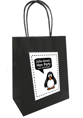 Personalised hen party gift bag penguin