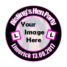 BRAND NEW NAMES PHOTO BIG PERSONALISED BADGE 15 X HEN PARTY BADGES