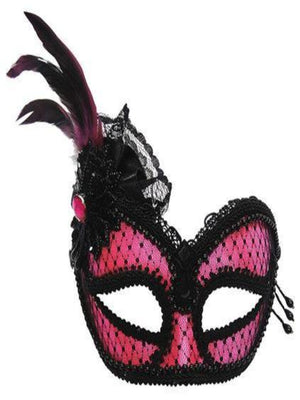 pink and black masquerade mask on headband em451