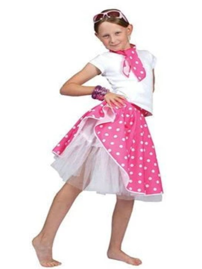 Pink Rock And Roll Skirt Children's costume