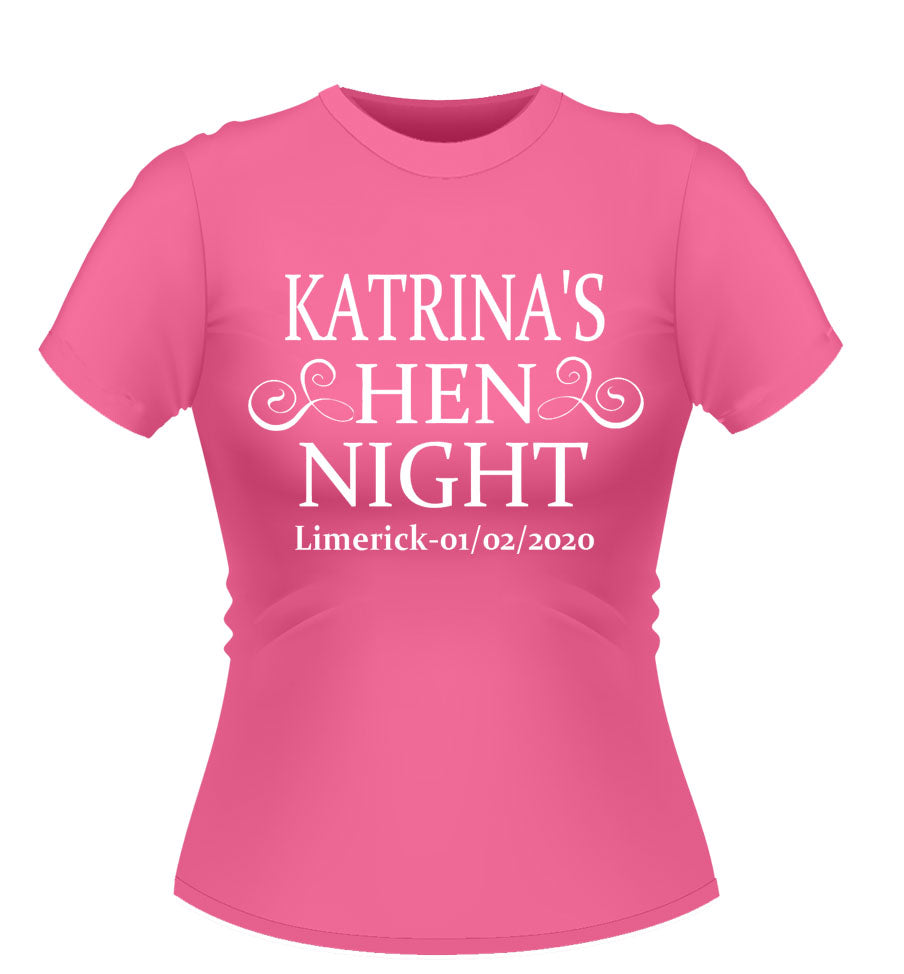 Hen Night Personalised Hen Party T-shirt