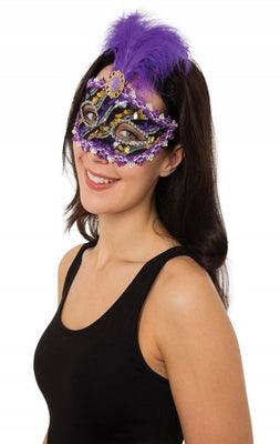 Purple and Black with Gold Eyemask and Stone