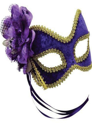 Purple/Gold + Flower masquerade mask EM685