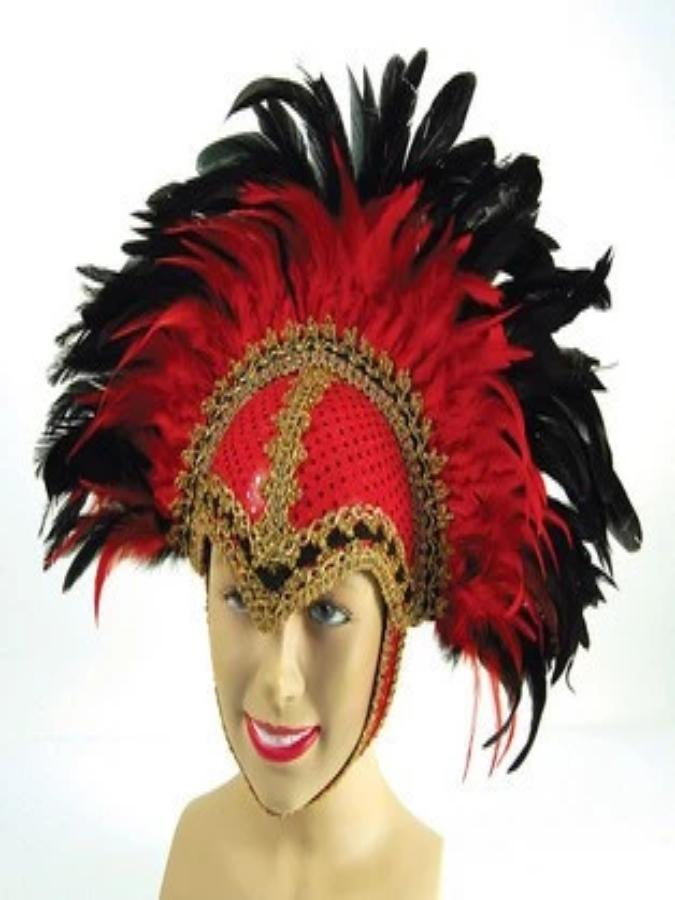 Red Braiding Feather Helmet