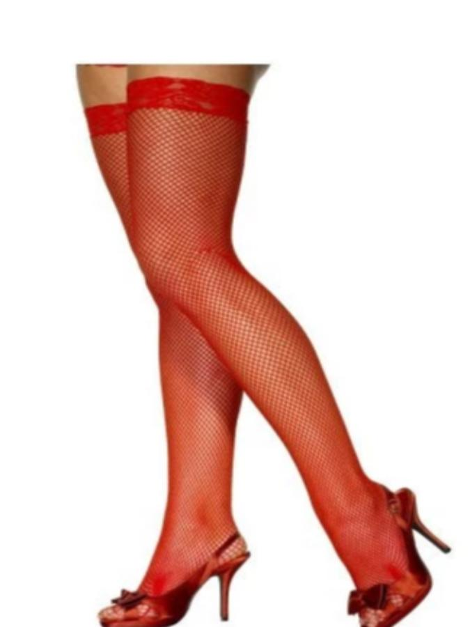Red Fishnet Stockings With Lace Tops