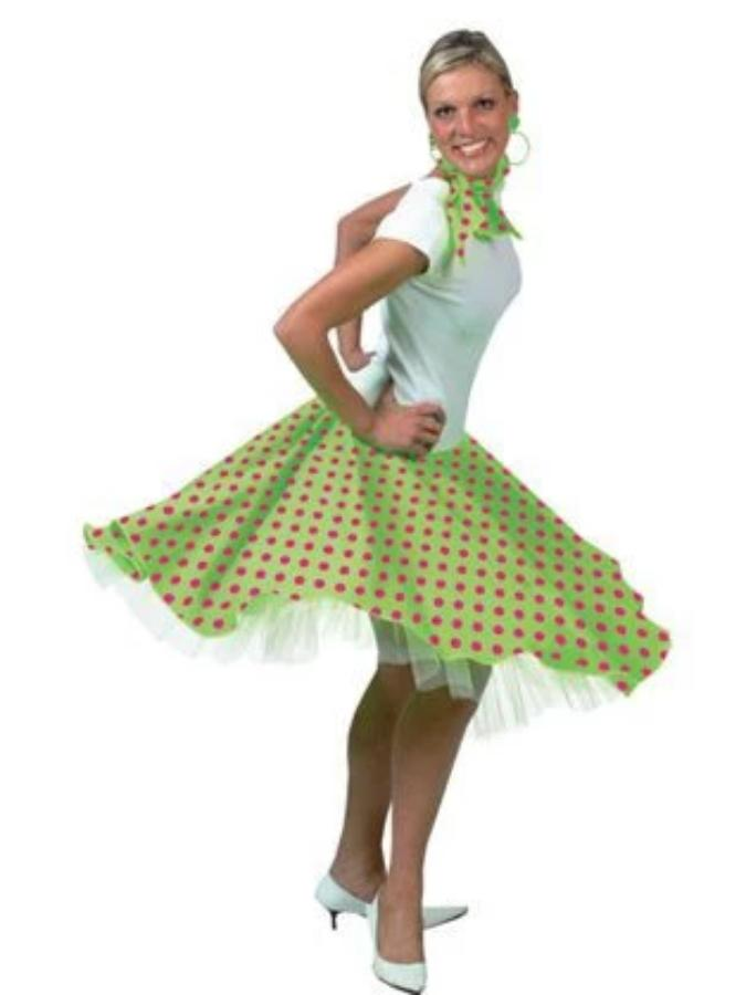 Rock And Roll Skirt Lime Costume