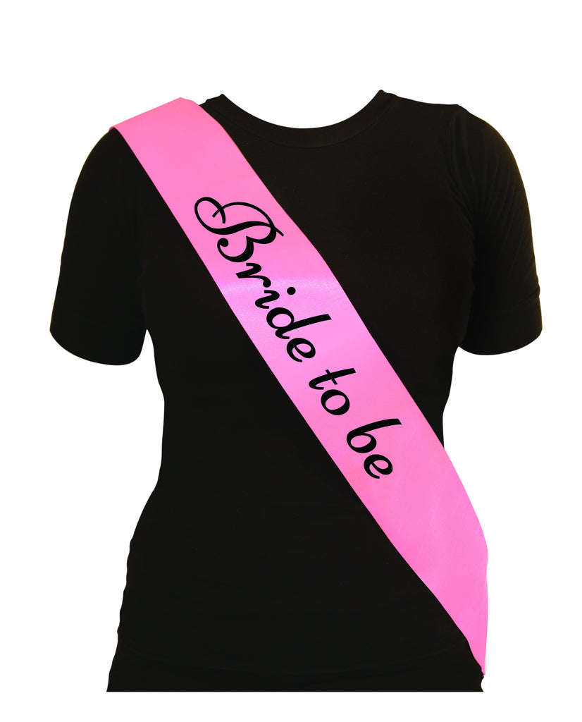 Sash Bride To Be Pink With black Text