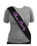 Sash Hen Party Black With pink Text