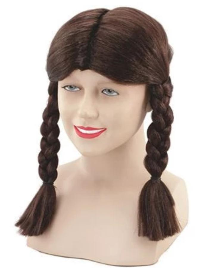 Brown school girl wig with plaits