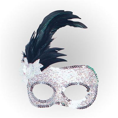 side feather silver beaded masquerade mask