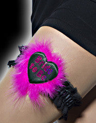 Hen Night Sexy Bride to Be Garter on a Luxury Black Heart