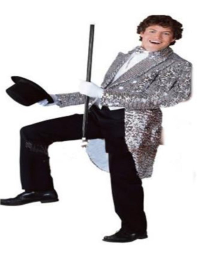 Silver Sequin Tailcoat costume hire For Hire