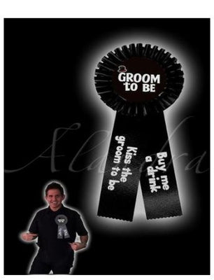 Stag Do Groom Rosette Brooch