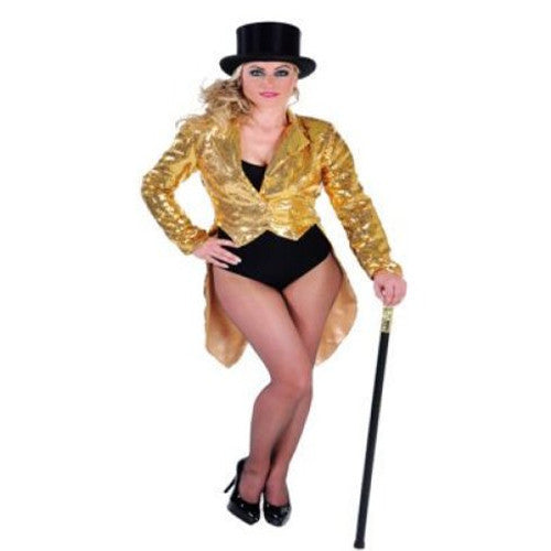 Tailcoat sequins lined Gold costume hire Hire