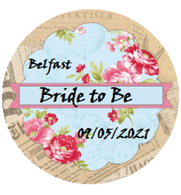 Bride to Be Personalised Vintage Style Badge