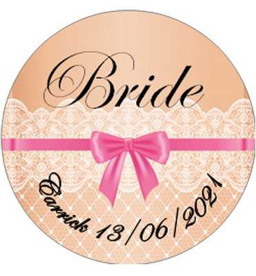 Personalised Vintage Lace Design BRIDE Badge