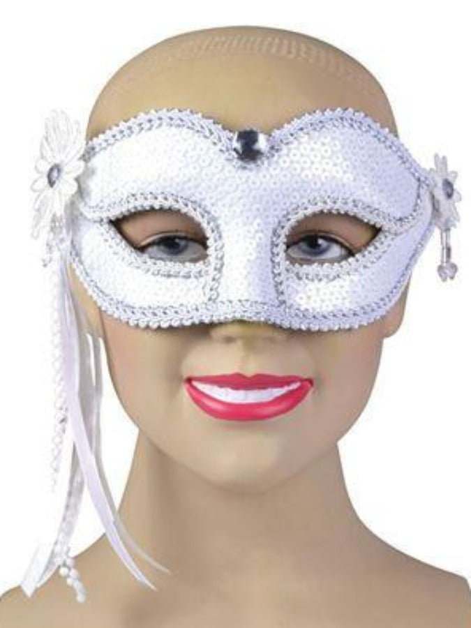 White With side Feather EM707 masquerade mask