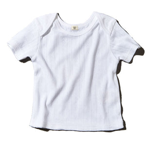 Baby Short Sleeve Pointelle Top White