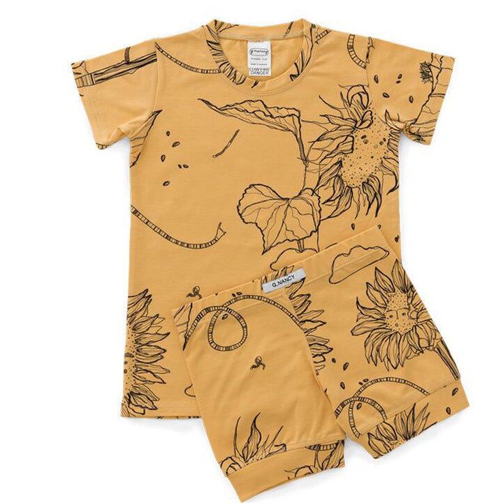 G.Nancy Ochre Sunflower Shortie PJ Set (last one 9-18m)