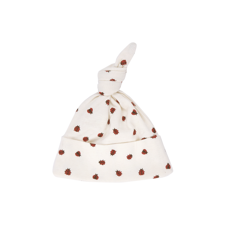 Nature Baby Knotted Beanie in Ladybird Print