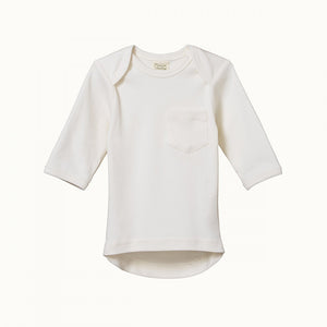 Organic Baby Long Sleeve Pocket Tee- Natural