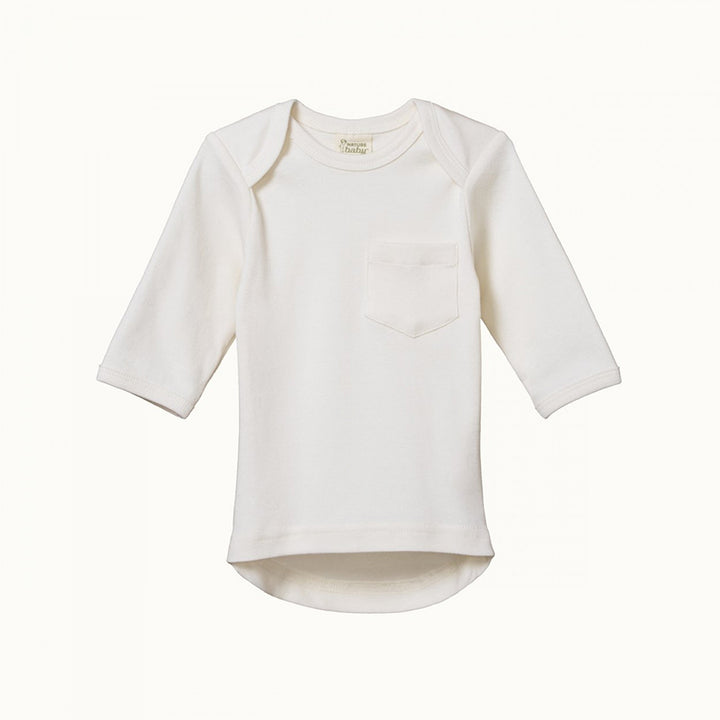 Organic Baby Long Sleeve Pocket Tee- Natural (3-6m last one)
