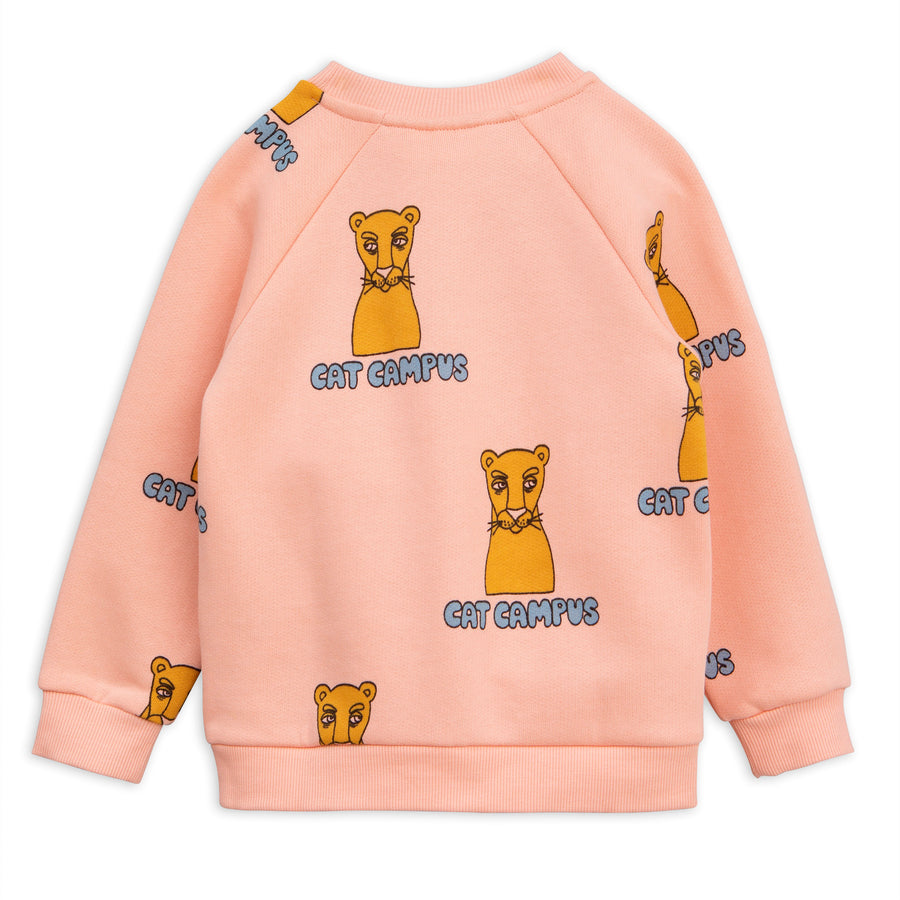 Mini Rodini Pink Cat Campus Sweatshirt