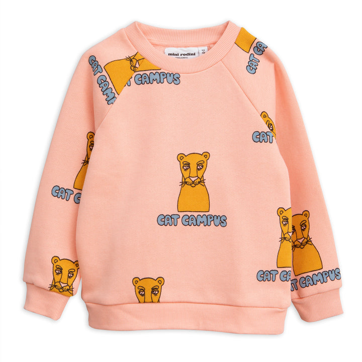 Mini Rodini Pink Cat Campus Sweatshirt (last one 9-18m)