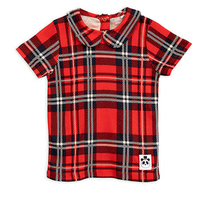 Mini Rodini Red Check Collar Tee (last one 9-11y)