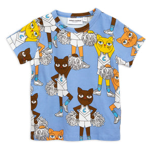 Mini Rodini Cheer Cats T Shirt Blue (9-18m last one)