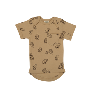 Nature Baby Short Sleeve Pocket Tee in Bear Honey Print