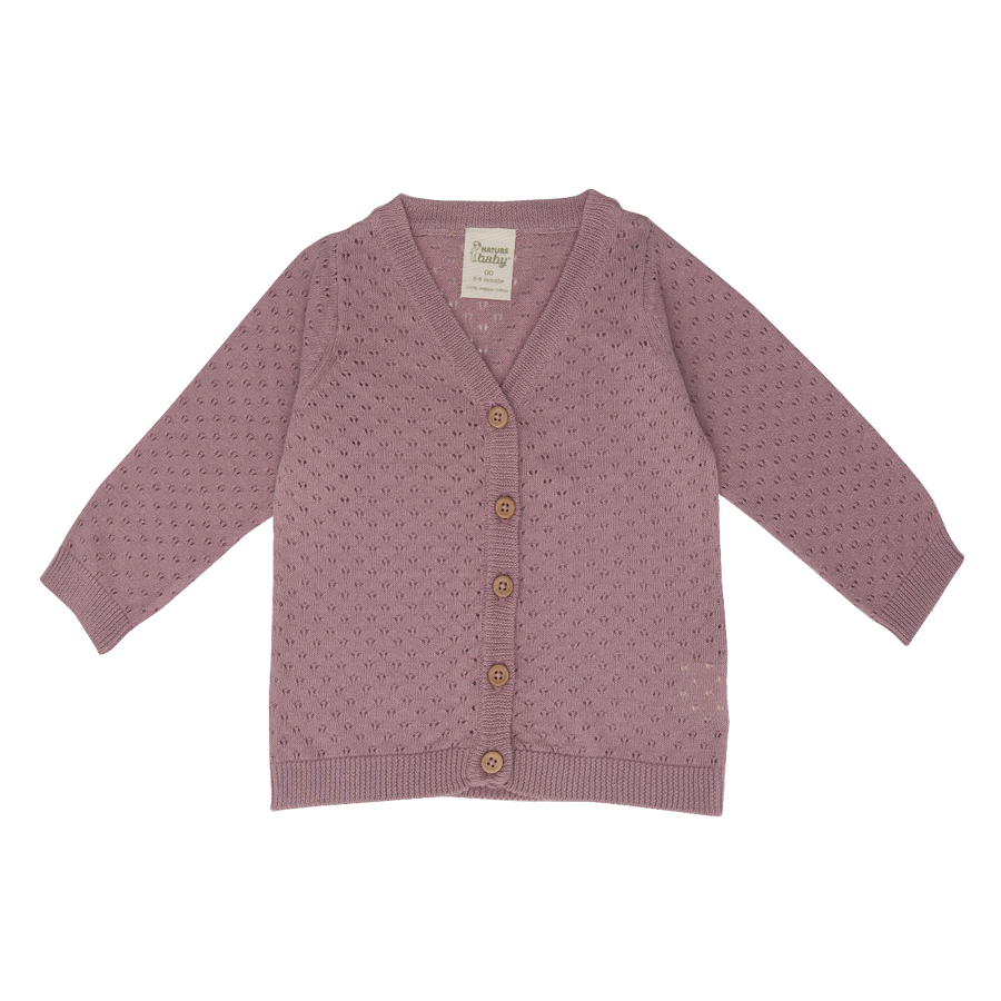 Nature Baby Knit Cardigan in Woodrose Pointelle (last one 0-3m)